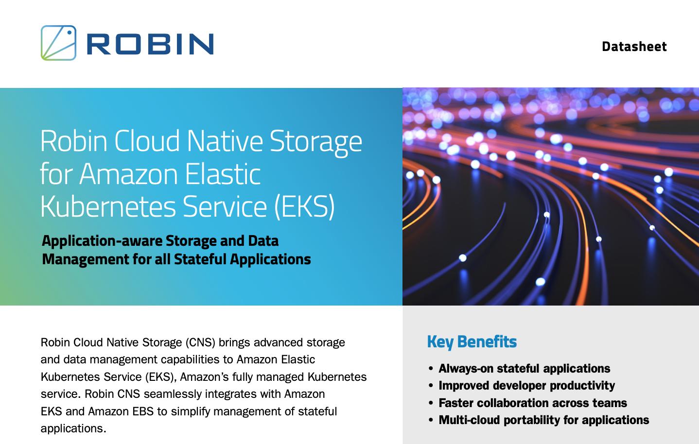 Robin Cloud Native Storage for Amazon EKS