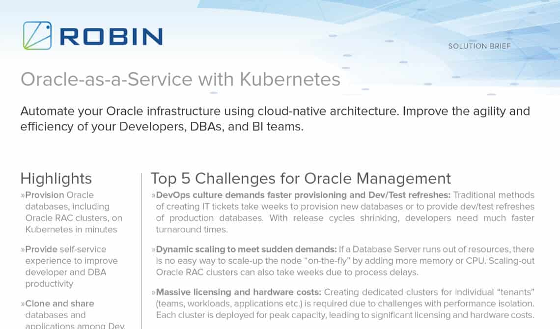 Oracle-as-a-Service with Kubernetes – Solution Brief