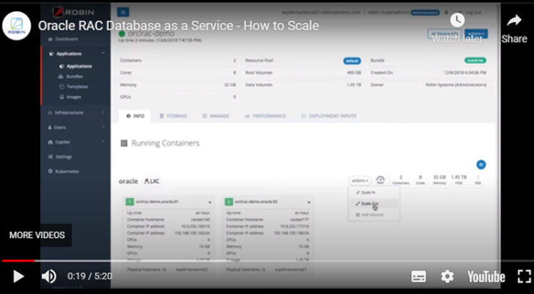 Scale Out Oracle RAC Database as a Service with Robin Platform