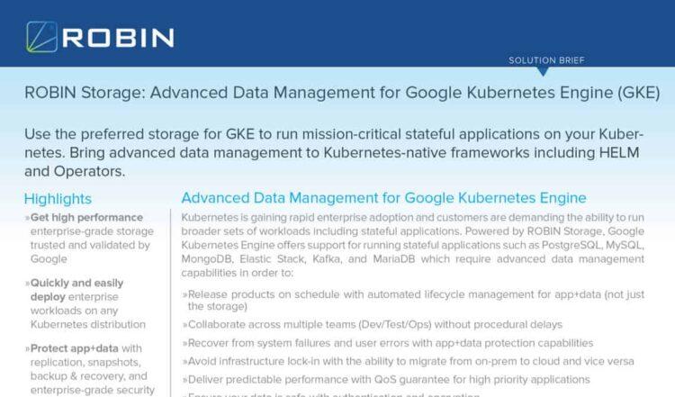 Robin Storage: Advanced Data Management for Google Kubernetes Engine (GKE) | Solution Brief
