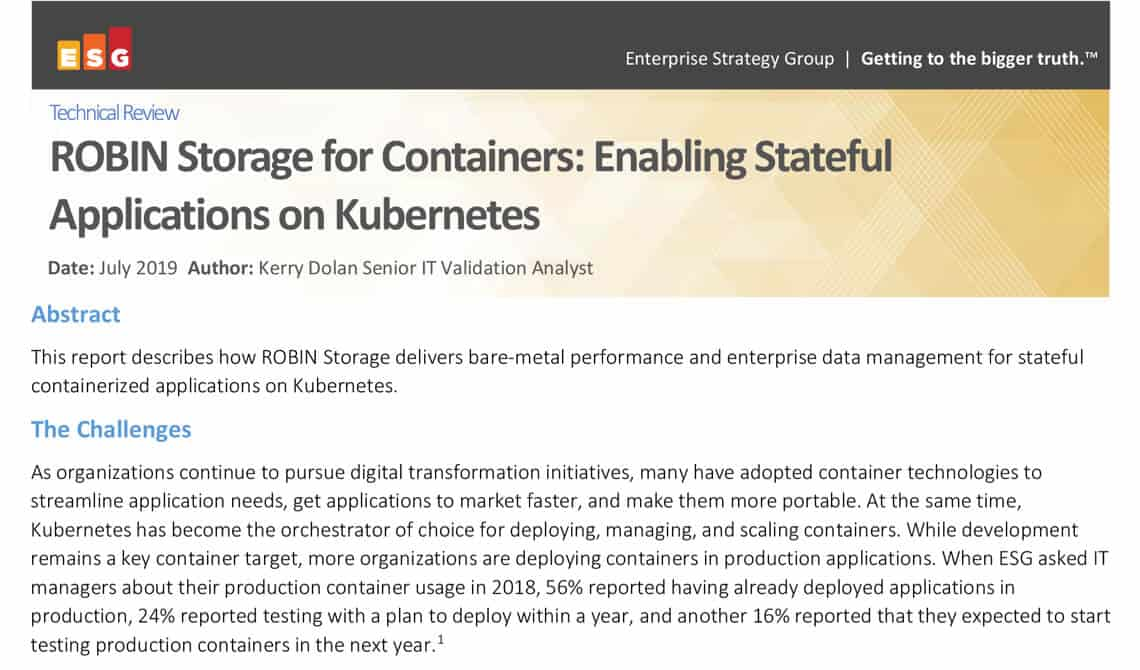 Robin Storage for Containers: Enabling Stateful Applications on Kubernetes