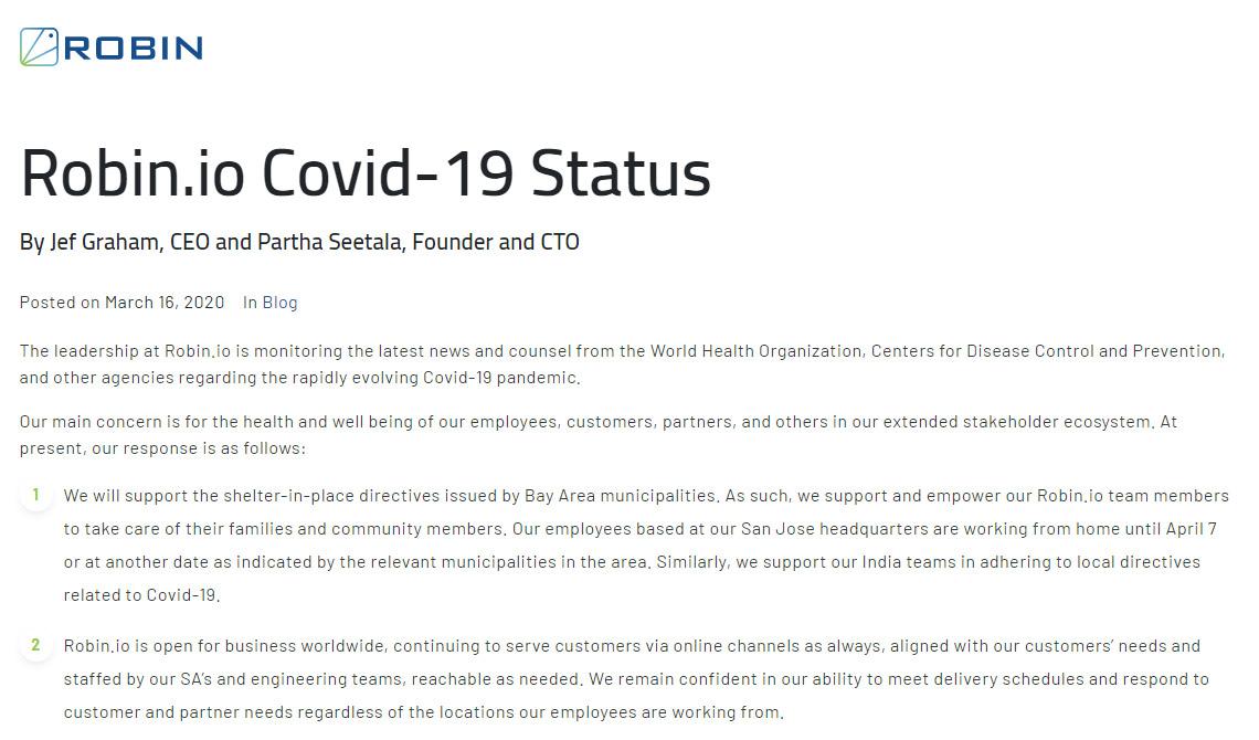 Robin.io Covid-19 Status