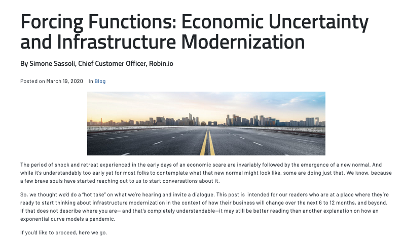 Forcing Functions: Economic Uncertainty and Infrastructure Modernization