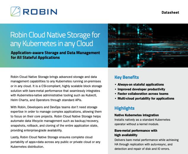 Robin Cloud Native Storage for Kubernetes