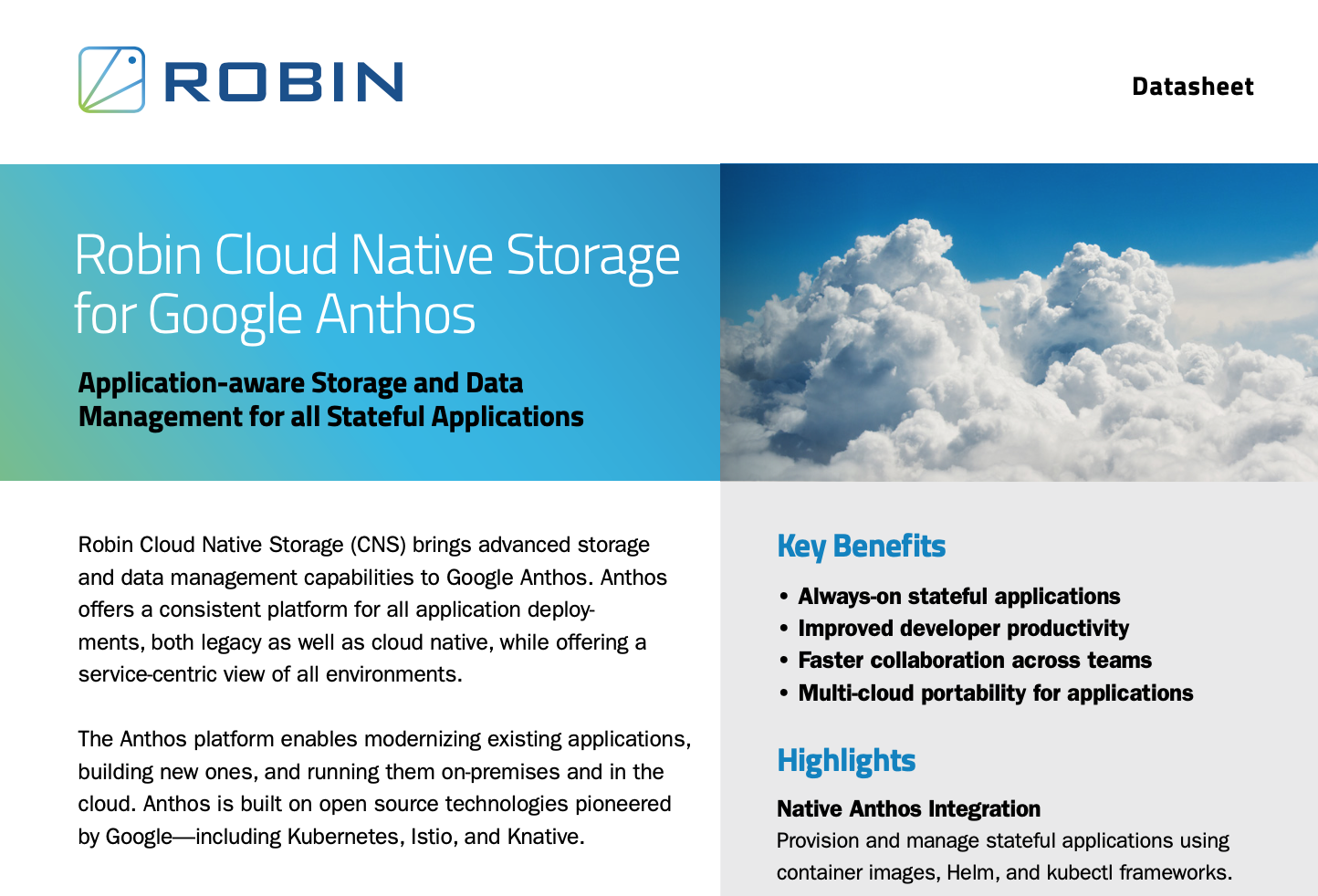Robin Cloud Native Storage for Google Anthos