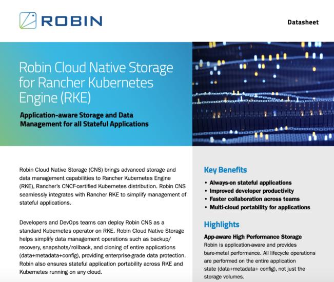 Robin Cloud Native Storage for RKE