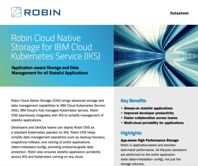 Robin Cloud Native Storage for IKS