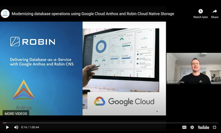 Modernizing database operations using Google Cloud Anthos and Robin Cloud Native Storage